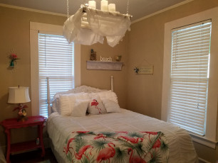 Flamingo Bedroom with Shabby Chic Chandelier